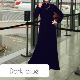 Mørke Blå Simple Abaya