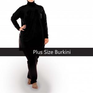 Black Basic Burkini - Plus Size